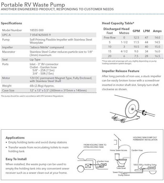 Flojet RV Macerator Inline Pump | 18550000A | 12v waste tank